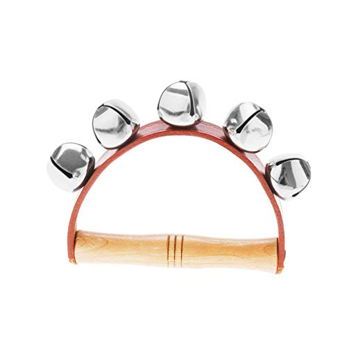 Wooden Handbell Tambourine Baby Kid Child Early Educational Musical Instrument Rhythm 5-Bells Beats Shaking Leather Jingle Bell Toy Red