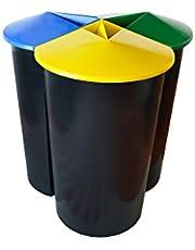 Zanvic Cubo de Reciclaje Resistente con 3 Compartimentos, Negro, Pequeño