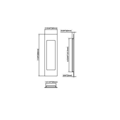 INOX FH2782-15 PD Series Pocket Linear Flush Pull with Tt08 Thumb Turn, Satin Nickel