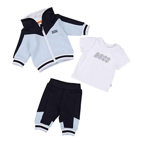 Hugo Boss Kids Navy Pale Blue T-Shirt+Trousers+Cardigan Set