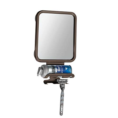 mDesign Large Modern Metal Suction Shaving Mirror Center for Bathroom Showers and -
