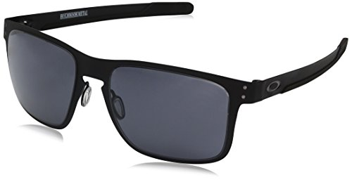 Oakley Men's OO4123 Holbrook Metal Square Sunglasses, Matte Black/Grey, 55 ()