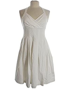 Calvin Klein Women's White Petite Pleated Surplice Sheath Dress 4P
