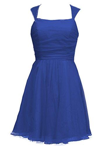 HarveyBridal Knee Length Cup Sleeves Lace Chiffon Bridesmaid Dress Wedding Party