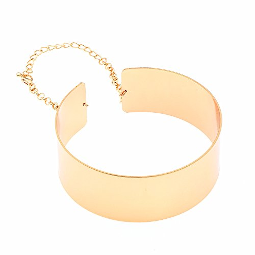 W WOOGGE Woogge Adjustable Women Big Chunky Necklace 18K Gold Silver Chain Metal Choker Collar Necklace For Girls(gold)
