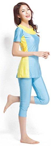Fortuning's JDS Modesto traje de surf traje de baño musulmán de la manga corta de baño top y pantalones del traje de baño de la UPF 50+ ropa de playa con cojines del sujetador cielo blu