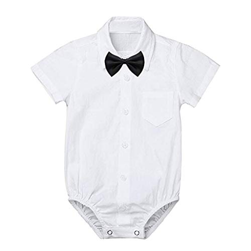 - LiLiMeng Newborn Baby Boys' Formal Shirts Gentleman Bow Tie Short Sleeve Romper Bodysuit Wedding Party Outfits