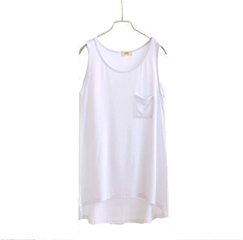 Wenseny Mujer BXG Algodón Casual Cuello Redondo Camiseta Sin Mangas Tank Top Blanco