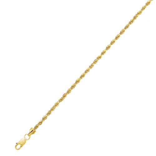 long Yellow Gold 2.0mm wide Shiny Diamond Cut Rope Chain Anklet with Lobster Clasp (Anklet Lobster)