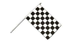 Bandera de meta - color negro y blanco a cuadros con manija grande/Bandera de carreras de motor