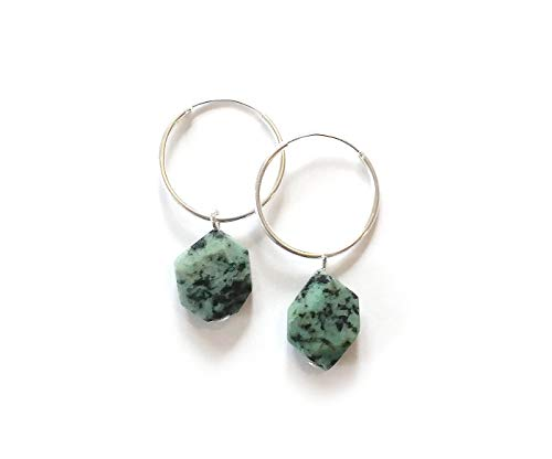 African Turquoise Earrings with gorgeous flat nugget stones - Sterling silver hoops 20 mm - Modern minimal eco jewelry - Handmade gemstone earrings