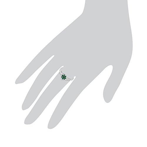 Gemondo Émeraude Bague, 9ct Or Blanc 0,24 Ct Émeraude & Diamant Bague Fleur