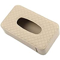 Car Tissue Holder PU Leather Clip Car Sun Visor Tissue Box Holder for Facial Tissue and Other Napkin Papers - Beige
