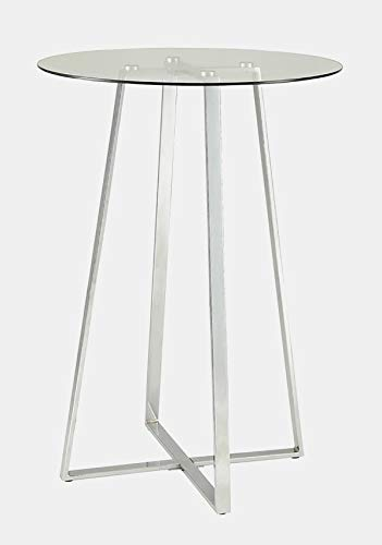 Pedestal Metal Base Dining Table - Dining Table with Round Glass Top - Silver/Chrome 42' Square Glass Top