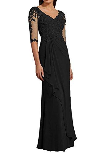 La Ausschnitt Langarm Chiffon Schwarz Braut A Rock Violett Linie Abendkleider Marie V Festlichkleider Brautmutterkleider xF6FXqfwRr
