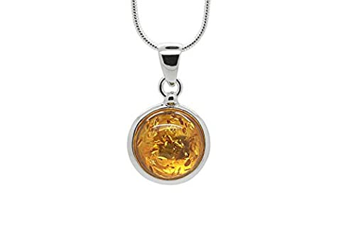 925 Sterling Silver Round Pendant Necklace with Genuine Natural Baltic Honey Amber. Chain included (Unique Amber Pendant For Women)