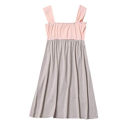 Lelili Toddler Kids Girls Cold Shoulder Patchwork Summer Dress Casual Sleeveless Cute Princess Dress Pink