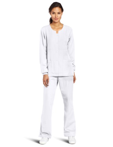 WonderWink Women's Scrubs Four Way Stretch Sporty Snap Jacket, White, 3X-Large