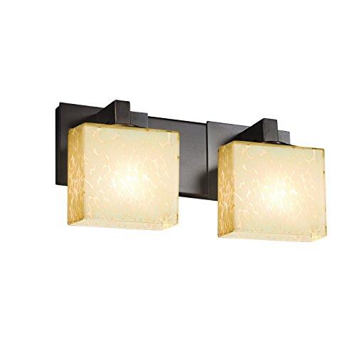 Justice Design Group Lighting FSN-8922-55-DROP-DBRZ Justice Design Group - Fusion - Modular 2-Light Bath bar - Rectangle - Dark Bronze Finish with Droplet Shade,