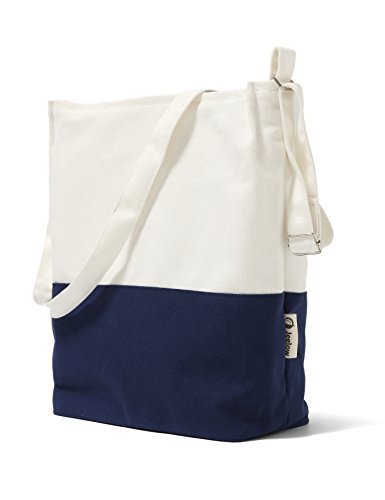 Canvas Tote Shoulder Bag Crossbody Bag Two Toned (White and (Canvas Zipper Tote)