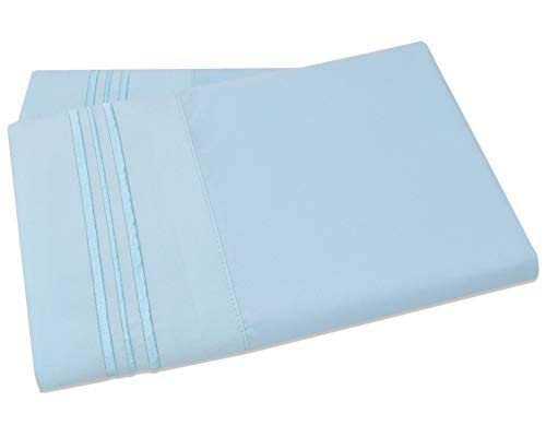 Mezzati Luxury Two Pillow Cases - Soft and Comfortable 1800 Prestige Collection - Brushed Microfiber Bedding (Light Blue, Set of 2 King Size Pillow Cases)