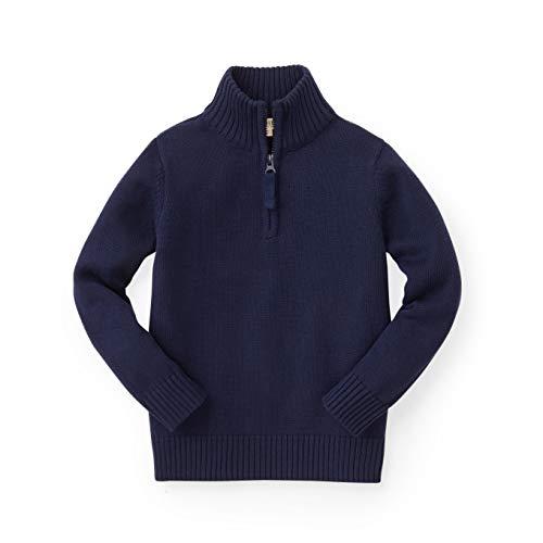 Hope & Henry Boys Navy Mock Neck Sweater with Zipper