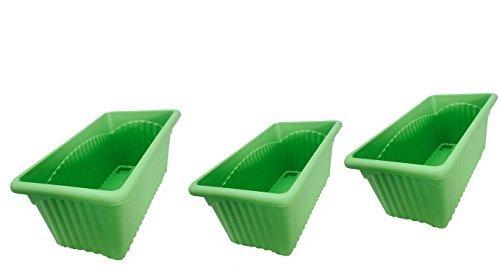 First Smart Deal Plastic Rectangular Planter Pack of 3 - Green