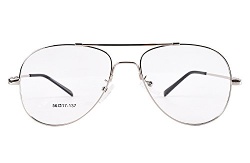 Agstum Large Aviator Full-flex Optical Memory Titanium Eyeglasses Frame 56mm - Prescription Eyeglasses Aviator Mens