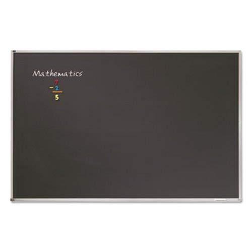 Chalkboard Steel Frame Aluminum - Porcelain Black Chalkboard w/Aluminum Frame, 48 x 36, Silver, Sold as 1 Each
