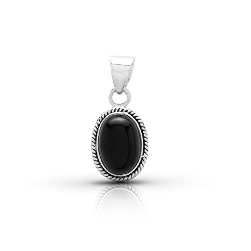 Black Onyx Oval Stone Pendant Sterling Silver 925 Ethnic Vintage Look