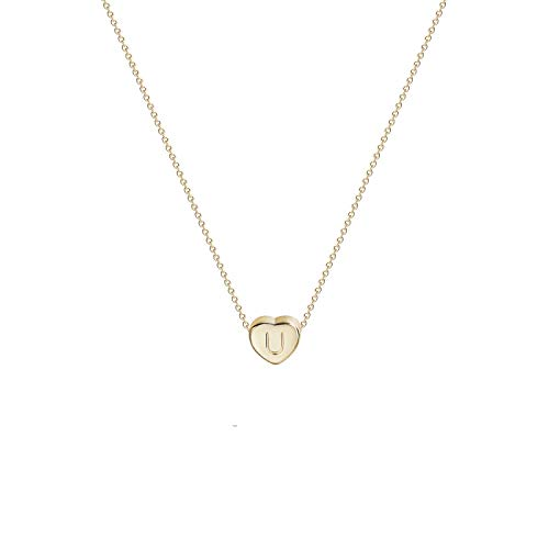 Tiny Gold Initial Heart Necklace-14K Gold Filled Handmade Dainty Personalized Letter U Heart Choker Necklace Gift for Women Kids Child Alphabet Necklace Jewelry (U)