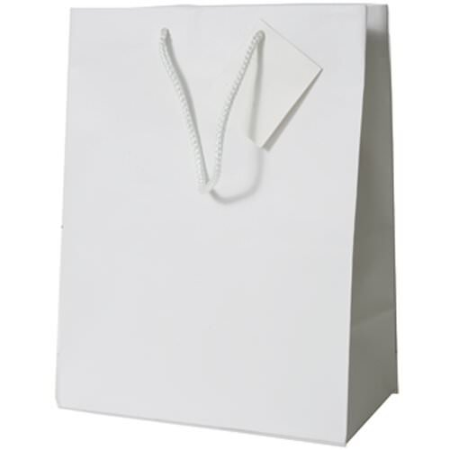 JAM PAPER Glossy Gift Bags with Rope Handles - Medium - 8 x 4 x 10 - White - Sold Individually