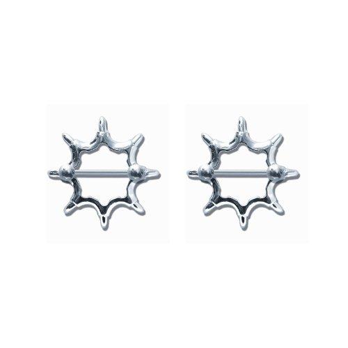 Pair of 316L Stainless Steel Barbell w/Nipple Shields Rings, 14 Gauge-112