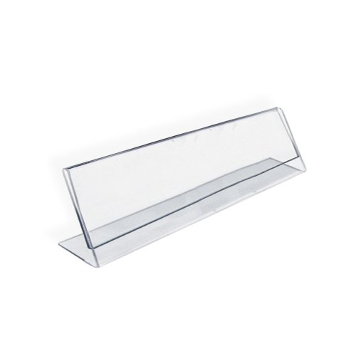 Azar 112703 8-Inch Width by 2-Inch Height Horizontal Name Plate Acrylic Sign Holder, 10 Count