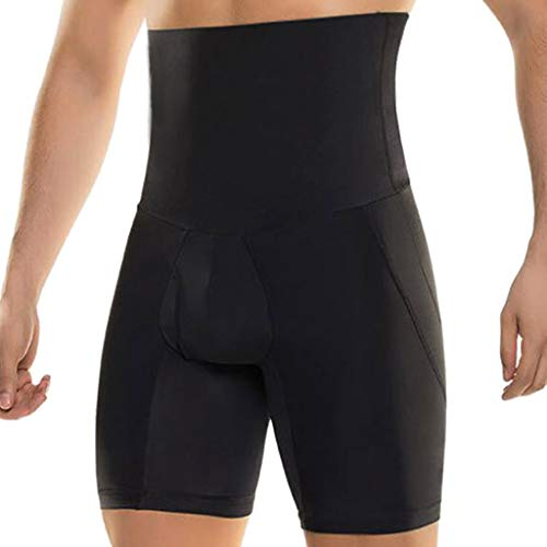 (Voberry Men's Body Shaper Tummy Control Slimming Shapewear Shorts High Waist bdomen Trimming Boxer Brief Stretch Pants Black)