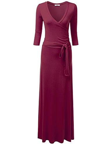 NINEXIS Women's V-Neck 3/4 Sleeve Waist Wrap Front Maxi Dress Burgundy 2XL