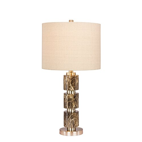 Martin Richard W-6237GRN Fangio Lighting's #6237GRN 27 in. Stacked, Smooth Resin and Metal Table Lamp Finish, 27.00, Brushed Steel with Green Faux Marble (Metal Table Lamp Richard)