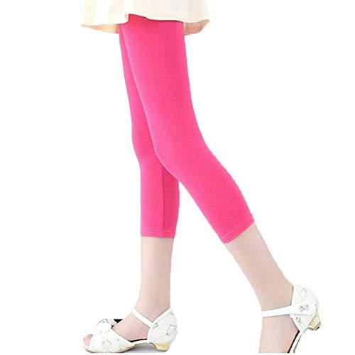 Bear Mall Capris Leggings Girls/Girls' Cotton Capri Crop Summer Leggings for School Play (3T / Toddler Girl, Capri Pink)