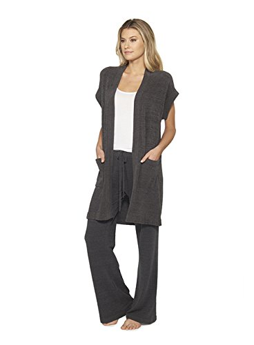 Barefoot Dreams CozyChic Ultra Lite Women Sleeveless Long Cardigan – Carbon - X-Small