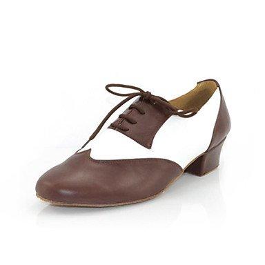 Swing Latino de Moderno Zapatos Tacón brown Marrón Cuadrado Personalizables baile Zapatos Jazz de U4qTgF8wF