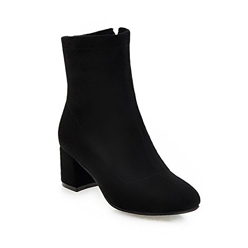 BalaMasa Chunky Solid Heels Boots Suede Mid Womens Black ABL10617 Calf HgSRqPHwn