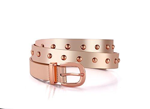 Fancy Women Fashion Rivets Faux Leather Jean Belts 2018 Rose Gold Polished Alloy Buckle Round Stud Casual Female Belt(Rose Gold, L)