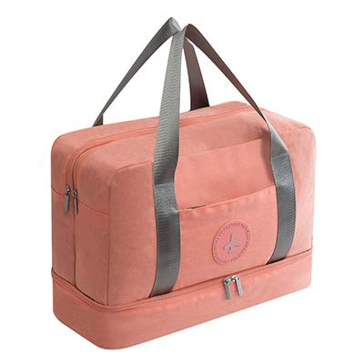 Travel bag - carseat bags for air travel- New Cationic Fabric Waterproof Travel Bag Large Capacity Double Layer Beach Bag Portable Duffle Bags Packing Cube Weekend Bags (pink)