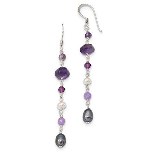 (925 Sterling Silver Freshwater Culturedult.pearl Grey White/amy/lavender Jade Shep. Hook Drop Dangle Chandelier Earrings Fine Jewelry Gifts For Women For Her )