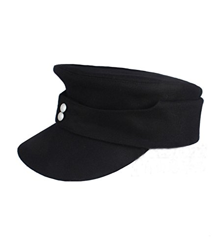WWII German WH Elite EM M43 Panzer Wool Field Cap Hat Black (M (57cm))