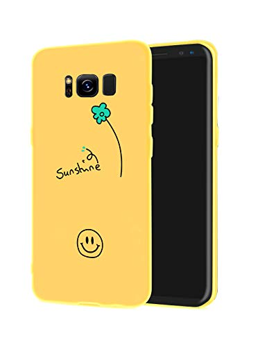 JOYLAND Smile Phone Case Cover for Galaxy S8 Plus Yellow Phone Case Smile Face Sunshine Floret Little Flower Cover Full Protective Soft Rubber Case Compatible for Samsung Galaxy S8+ ()