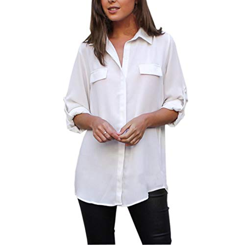 Solid Button Down Tops, Clearance Duseedik Women Fashion Solid Long Sleeve Button Loose Casual Blouse Shirt Tops