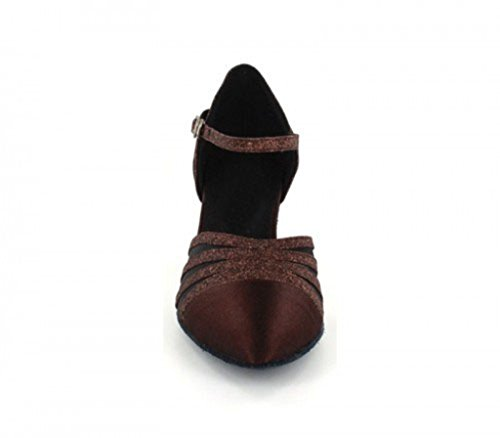 TDA Womens Mid Heel Closed Toe Mesh Glitter Satin Latin Dance Pumps Wedding Shoes Brown-6cm Heel XtKI4a