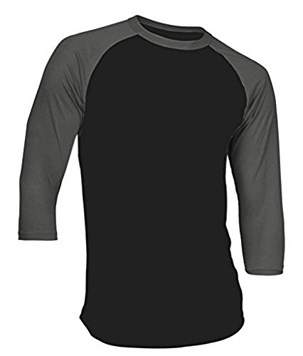 Dream USA Men's Casual 3/4 Sleeve Baseball Tshirt Raglan Jersey Shirt Black/C Gray Small