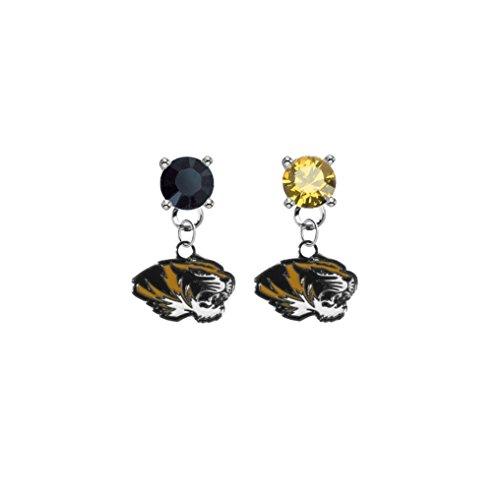 Missouri Tigers Black & Gold Crystal Stud Post Dangle Earrings